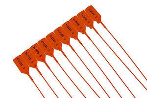 50  X Orange Plastic Security Tags Numbered Pull Ties Secure Anti-Tamper Seals