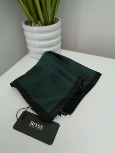 BNWT HUGO BOSS Black Green Stripe Pattern Pocket Square Handkerchief Hankie