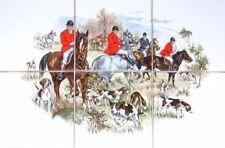 English Fox Hunt Ceramic Tile Mural Red Coat Horse Hound Dogs Kiln Fired