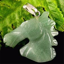Beautiful unique Aventurine carved horse head Pendant bead BA4136