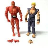 "Lot 2pcs JAZWARES STREET FIGHTER classic RED SETH &  KEN 4"" Action Figure toys"