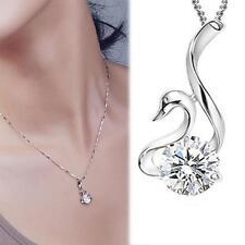 925 Silber Anhänger Kristall Damen Schmuck Schwan mit Halskette AAA Zirkonia +