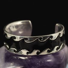 Black Enamel Embossed Inlay Free Size Ladies Toe Ring Solid 925 Sterling Silver