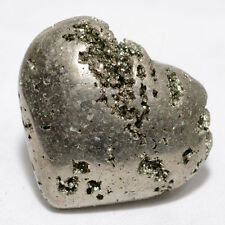 "2.1"" Pyrite Puffy Heart Natural Druzy Crystal Quartz Mineral Stone Heart - Peru"
