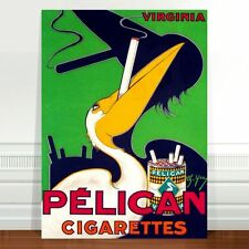 "Vintage Tobacco Advertising Poster Art ~ CANVAS PRINT 8x12"" Pelican Cigarettes"