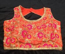 "36"" 38"" S Floral Saree Blouse Indian Bollywood Sari Choli Orange Pink Gold Y9"
