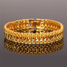 Chunky Link Chain Bracelet 18K Gold Plated Cuff Bangle Wristband Jewelry For Men