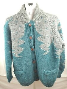 Homemade Chunky Knit Sweater Teal/Grey Brown Buttons Christmas Pockets Oversized