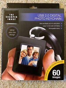 "Sharper Image USB 2.0 Digital Photo Keychain Black Open Box 1.5"" LCD 60 Photos"