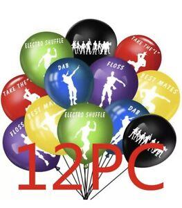 "10 X 12"" Fortnite Balloons DANCE  Latex Printed Party bags Birthday gamer floss"