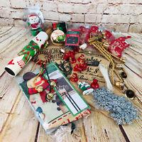 Vtg Christmas Decoration Lot Santa Snowman Ornaments Stocking Bells Festive MCM