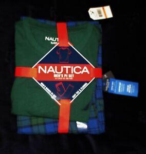 Nautica men sz S blue green Pajama pj lounge flannel pants set s/s knit t shirt