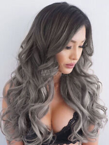 100% Human Hair Natural Long Wavy Gray Fashion Women's Wig