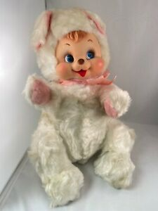 "Vintage Rushton Rubber Face 15"" White Teddy Bear Plush Stuffed Animal PRISTINE"