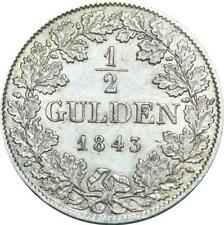 P5947 Rare Germany 1/2 Gulden Adolph I 1843 Silver AU -> M Offer