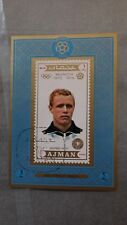 1x Bloc Sheet AJMAN Football Siegfried Held imperf. Cachet MNH** Munchen 74
