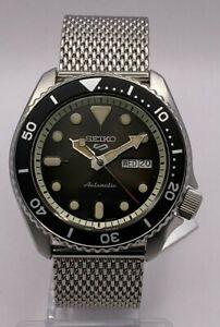 Seiko 5 Sports Men's Auto Black Dial Steel Mesh Bracelet Watch SRPD73K1