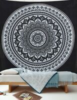Indian Black & White Mandala Cotton Tapestry Wall Hanging Queen Size Bedspread