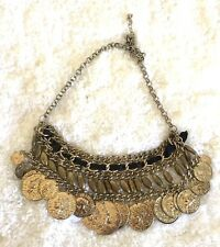 Old Coin Chain Ribbon Statement Necklace Choker Length Adjustable Womens Classic