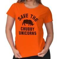 Save Chubby Unicorns Funny Gym Rhino Hipster Gift Idea Cool Ladies Tee Shirt T