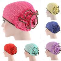 Womens Muslim Stretch Turban Large Flower Hat Chemo Hair Loss Head Scarf Wrap UK