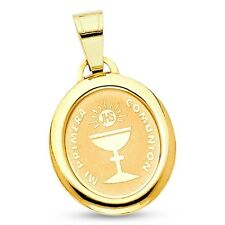 First Communion Pendant 14k Yellow Gold Charm Solid Christian Faith Style