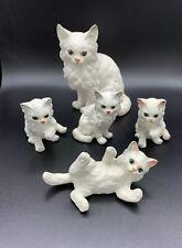 Vintage Lefton Ceramic White Persian Cat Family Figurines Blue Eyes Japan. A+.