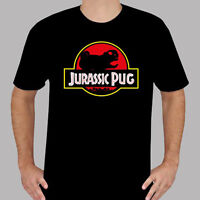 New Jurassic Pug Park Funny Dinosaur Movie Logo Mens Black T-Shirt Size S to 3XL