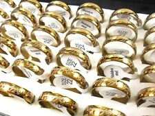 36PCS gold Stainless Steel Men's 6MM LOTR Lord of Rings lots wholesale