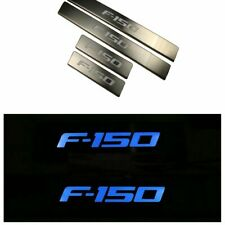 4pc Blue LED Light Steel Scuff Plate Door Sill Entry Guard For  Ford F150 09-15