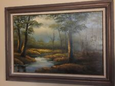 HENNING PERSSON Original 1940s WW2 ERA LANDSCAPE SIGNED OIL PAINTING ON CANVAS