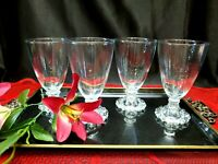Vintage Anchor Hocking Boopie Footed Water Glass Goblets (Mint) - Set of 4