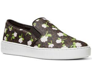 NIB Size 7 US Michael Kors Keaton MK Logo Floral Roses Slip on Sneakers