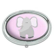 Elephant Cute Pastel Metal Oval Pill Case Box