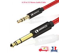 Câble Audio stéréo Jack 6.35mm vers 3.5mm pour Haut-parleurs, Table de Mixage 2M