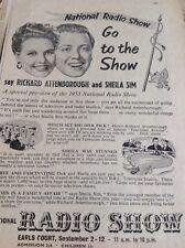 Ephemera 1953 Advert National Radio Show Richard Attenborough Sim Sheila Mr1015