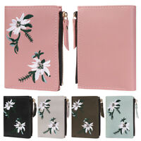 1pc Women Short Wallet Card Holder PU Leather Embroidery Cash Pocket Small Purse