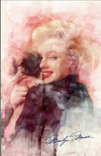 Marilyn Monroe Puppy Watercolor Movie Poster 24x36