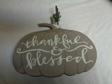 """Primitives by Kathy thankful & blessed"""" Pumpkin Cut with 2 wooden leaves"""