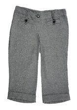 8-12 New Ladies Black Grey Herring Stripe Long Shorts Turn up 3/4 Trouser Capris