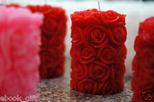 2 Pcs Rose Pillar Candle Used Pure Wax, For Home Decor or Diwali Christmas Gift