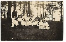 RPPC Group Shot of WOMEN and a FEW MEN Sitting in Woods Postcard  Real Photo Pic