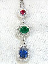 3.07CT NATURAL SAPPHIRE EMERALD RUBY DIAMOND CLUSTER DANGLE PENDANT 14KT+