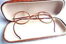 Vtg Round Wire Frame Eye Glasses Spectacles Frames Prescription RX Lens Brown