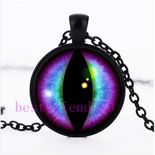 Blue and Purple Dragons Eye Cabochon Glass Black Necklace Men Woman Jewelry#D40