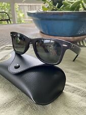 RAY BAN WAYFARER RB2140, 50MM G-15 POLARIZED LENSES, BLACK FRAME SUNGLASSES