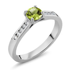 0.65 Ct Green Peridot White Created Sapphire 925 Sterling Silver Engagement Ring