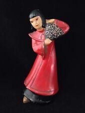 Vintage 1940s Chinese Fan Dance Plasterware Girl Figurine by Klein Art Deco Nice