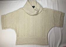 A.N.A. Women's Size PL Soft Cowl Neck Glitter Beige Knit Dolman Sweater Top