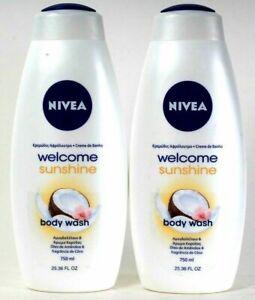 (2 Bottles) Nivea Welcome Sunshine Almond Oil & Coconut Scent Body Wash 25.36 Oz